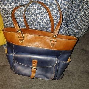 Gorgeous Blue & Brown Leather Patricia Nash Bag